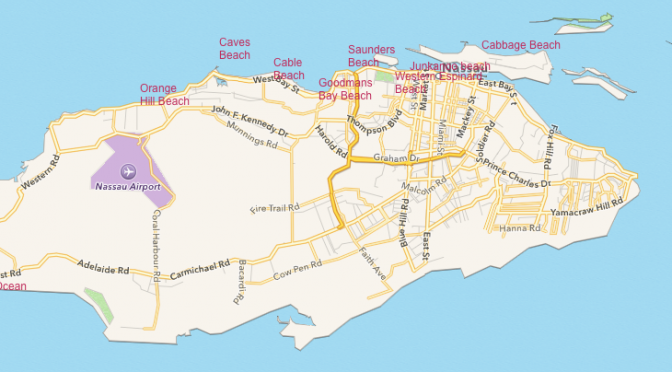 Map of Nassau Beaches